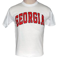University of Georgia white t-shirt with red arched Georgia outlined in black