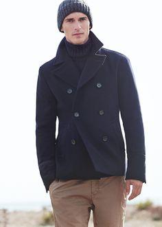 Peacoat lana azul marino - Hombre | MANGO
