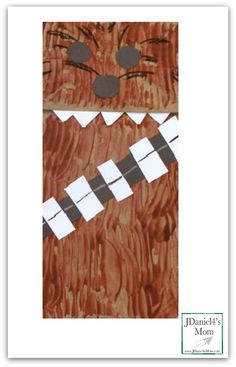 Star Wars Summer Movie Craft- Chewbacca Puppet (paint with a fork), black & white paper scraps too!!