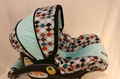 Argyle with tiffany minky boy  Infant car seat cover- Custom Order by BabyCovers2010 on Etsy, $65.00