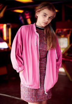 Chloe Moretz Lacoste Hot Pink Jacket Pink Sparkly Dress Black Rectangule Sequin Dress