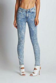 1981 High-Rise Skinny Jeans in Indigo Acid Wash | GUESS.com