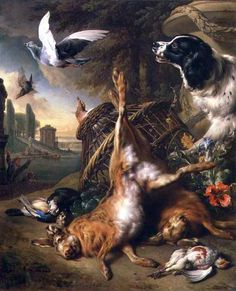 Jan Weenix - Nature morte avec gibier mort et lièvre, 1703, (Rafael Valls Gallery, Londres).