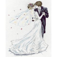 Wedding Couple Counted Cross Stitch Kit 10inX14in 14 Count                                                                                                                                                                                 More
