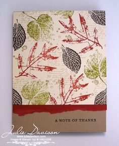 Julie's Stamping Spot -- Stampin' Up! Project Ideas by Julie Davison: French Foliage Collage Card Fall Cards, Holiday Cards, Leaf Cards, Thanksgiving Cards, Masculine Cards, Flower Cards, Cute Cards, Vintage Cards, Your Cards