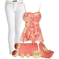 accent: coral, wedges, skinnies, loose top #spring #casual #outfits
