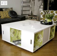 Table made from crate boxes.. lined with wallpaper.