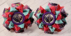 Nightmare Before Christmas Pink & Teal Pigtail hair bows