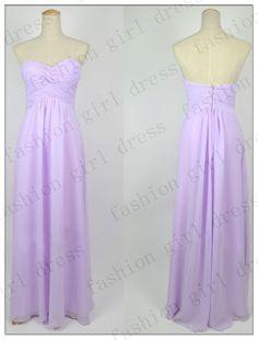 Custom Beach Sweetheart Floor-length light purple Chiffon Long Prom/Evening/Homecoming/Bridesmaid/Cocktail/Formal Dress 2014 New Arrival$98.00