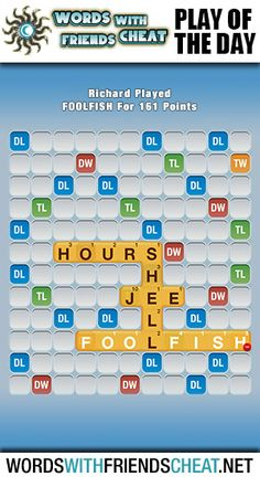 Have any idea what a foolfish is? Neither did we. Learn a new word at http://www.wordswithfriendscheat.net/play-of-the-day/play-of-the-day-foolfish-161-points/ #wordswithfriends #pod #playoftheday