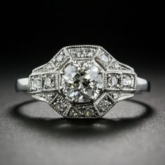 .82 Carat European-Cut Diamond Art Deco Style Engagement Ring in Platinum