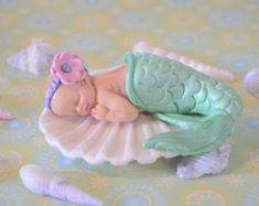 Baby Shower cake topper Pregnant Mermaid by GinaCarrascoHandmade