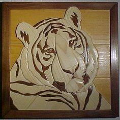 White Tiger   Intarsia   Debbie Weindorf Intarsia Wood Art