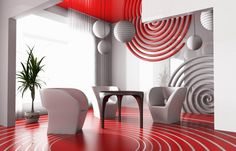 Download Amazing Modern Contemporary Red White Spiral Theme Mirrored Living Room Interior Design With Contemporary Living Room Furniture On Red Decorative Epoxy Flooring Mirrored Wall Red Mirrored Ceiling Ideas HD Wallpapers