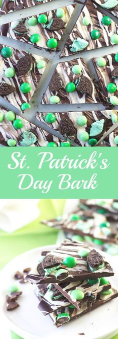 St. Patrick's Day Bark -an easy recipe for a great treat to enjoy on St. Patrick's Day!   http://www.countrysidecravings.com