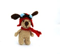 $33.82 aviator dog, crochet dog, puppy with #aviator hat, handmade miniature dog, tiny dog creature, #cartoon character, dog doll, little puppy, gift by crochAndi