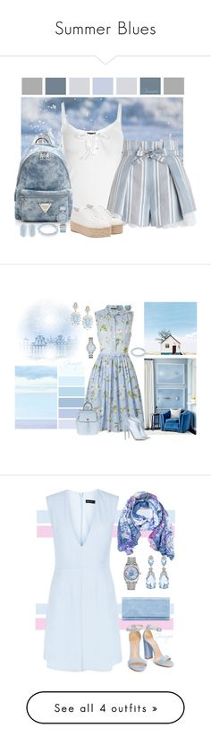 """""""Summer Blues"""" by gemique ❤ liked on Polyvore featuring Boohoo, Zimmermann, Miu Miu, OMEGA, Sydney Evan, Kendra Scott, French Connection, Cutler and Gross, Chloe Gosselin and New Look"""