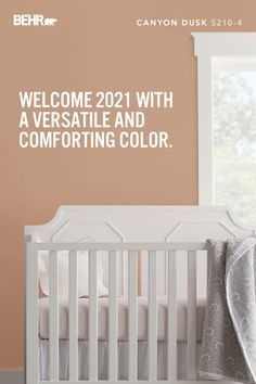 With a new year comes new possibilities — and sometimes, even, new life. That means it's time to turn that unused guest room into a peaceful space for your new little one to prosper. And there's no better place to start than with a coat of our BEHR® 2021 Color of the Year, Canyon Dusk S210-4. Its soothing terracotta tone can help you turn any place in your home into a den of warm, restful, relaxation.