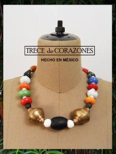 TRECE de CORAZONES / Collar Polux / colores del trópico / cuentas de cristal brillante y mate - piezas de latón / HECHO EN MEXICO solo en Cañamiel Concepto Latino