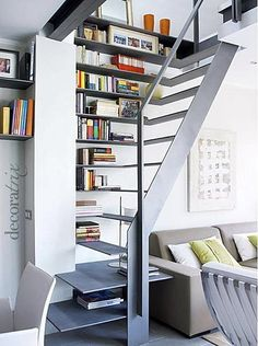 Stair design for a small space / Tiny House: Small apartment interior design 6 - Decoist Small Apartments, Small Spaces, Stair Shelves, Staircase Bookshelf, Staircase Storage, Bookshelves, Shelving, Storage Shelves, Book Storage