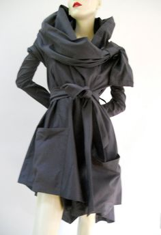 Maria Severyna Black Italian Slate Grey Wool by MariaSeveryna, $487.00
