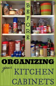 Organizing Your Kitchen Cabinets - Before and After Kitchen Spice Cupboard | StuffedSuitcase.com home organization