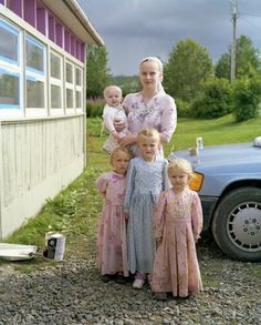 Old Believer children and their mother in the Old Believer settlement of Nikolaevsk, Alaska, 2008.