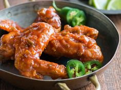 Jalapeño Chicken Wings   Ready in under an hour, these deliciously crispy chicken wings get a spicy kick from fresh jalapeños and hot sauce.