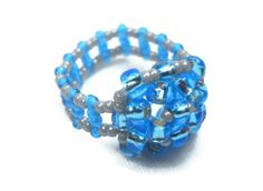 Beaded Ring Sky Blue by SmileykitCreations on Etsy, $10.00 #Etsy #jewelry #ring