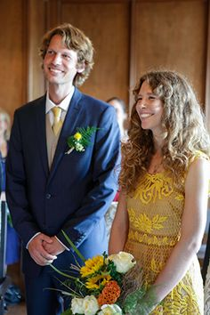 lace destination wedding dress with bright flower bouquet and boutonniere. Photos by http://jennysmithandco.com/ || Seen on http://www.jetfeteblog.com/destination-weddings/wedding-switzerland-yellow-wedding