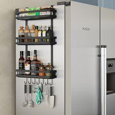 Spice Rack Storage, Kitchen Spice Racks, Spice Organization, Storage Shelves, Wall Mounted Spice Rack, Fridge Shelves, Organizing, Bathroom Organization, Spice Rack Holder