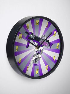 You're a DPS Main. In video games, you shoot first, and ask questions later. This starburst purple design is now on a clock, with Overwatch-style numbers. A great addition to a gamer's bedroom or the family games room. Gamer Bedroom, Submachine Gun, Family Games, Overwatch, Game Room, Game Art, Maine, Video Games, Numbers