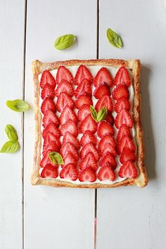 Strawberry Cream Cheese Puff Pastry Tart! Yum! #summer #recipe