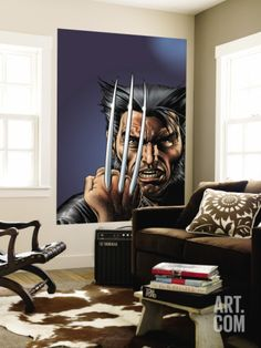 Wizard No.149 Cover: Wolverine and Logan Wall Mural by Brian Bolland at Art.com
