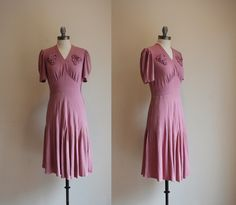 1930s Rayon Dress / With A Kiss Dress / Vintage 30s 40s Pink