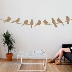 Birds on a Wire Wall Decal 01 | DecalMyWall.com