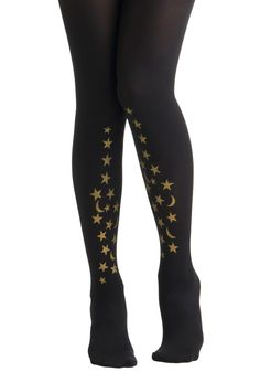 Celestial Be Friends Tights - Black, Gold, Novelty Print, Party, Casual, International Designer, Glitter, Girls Night Out, Holiday Party