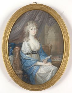 A portrait of Marie Therese Charlotte, daughter of Louis XVI and Marie Antoinette, by Friedrich Heinrich Füger. Marie Therese would have sat for this painting during her stay in Vienna and was likely painted sometime in 1798 or 1799.