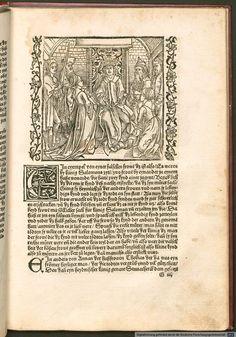 "Back view of Schleier and gowns, pg 87  ""Der Ritter vom Turn"" by Geoffroy de la Tour Landry, translated by Marquard vom Stein, illustrated by Albrecht Durer, 1493-95"