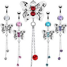 Butterfly Belly Ring with Dangle Gem