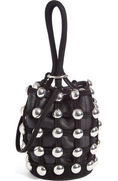 ALEXANDER WANG Mini Roxy Studded Suede Bucket Bag. #alexanderwang #bags #bucket #suede #