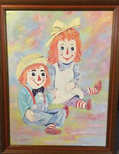 Lawrence Crowell Raggedy Ann & Andy 1972 Signed Framed Picture Valued At $250