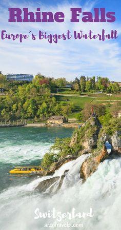 Visit the biggest waterfall in Europe - the Rhine Falls in Schaffhausen. Switzerland, nature.