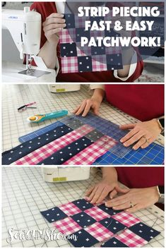 Sew Patchwork Blocks with Strip Piecing! {how to video} Do you want to know the secret to sewing patchwork blocks really accurately and fast? It's strip piecing! Quilting For Beginners, Sewing Projects For Beginners, Quilting Tips, Quilting Tutorials, Quilting Projects, Fall Sewing Projects, Machine Quilting, Sewing Crafts, Jellyroll Quilts