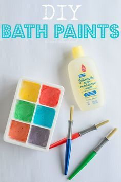 DIY Bath Paints - easy to make paint that your toddlers and kids will love!  Great sensory play!