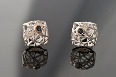 Delicate Sterling Silver & Gold Square geometric by AlexDeHaro