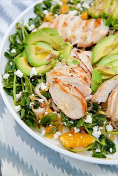 Grilled Tequila Chicken Salad with Avocado, Orange and Pepitas | Annie's Eats