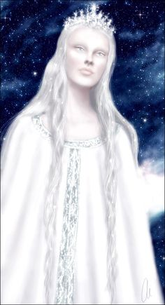 THE VALAR: Varda by Tania Weil. Queen of the Stars, spouse of Manwë, titled Elentári in Quenya and Elbereth Gilthoniel in Sindarin. She kindled the first stars before the Ainur descended into the world, and later brightened them with the gold and silver dew from the Two Trees. Melkor feared and hated her the most, because she rejected him before Time. The Elvish hymn A Elbereth Gilthoniel appears in three differing forms in The Lord of the Rings.