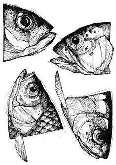 flashs nahon léa FLASHS Léa NahonYou can find Fish art and more on our website Animal Sketches, Drawing Sketches, Tattoo Sketches, Animal Drawings, Drawing Ideas, Fish Drawings, Art Drawings, Illustrations, Illustration Art