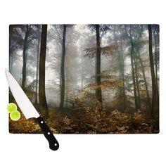 "Kess InHouse Iris Lehnhardt 'Forest Mystics' Brown Grey Cutting Board (Large 11.5"" x 15.75""), Multi (Glass)"